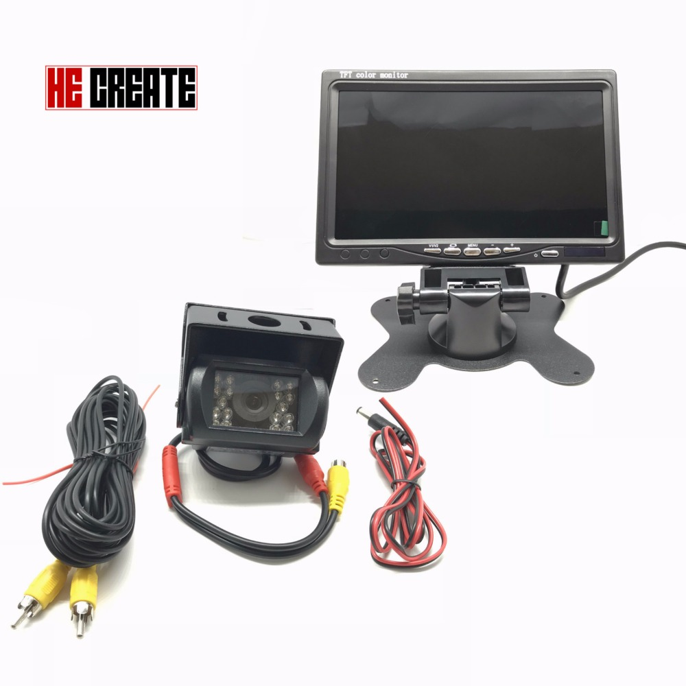 HE CREATE Backup Camera & 7 LCD Car Rear View Monitor Kit for 12V~36V Truck Bus 18 IR LED Night Vision Rearview Reverse Camera dc 12 24v 7 lcd car parking monitor ir night vision ccd ir backup camera 4 pin video cable 10m 15m 20m for bus van truck