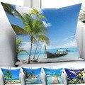 Чехол для подушки Else Tropical Beach Blue Sea Nature  домашний декор  3D принт  квадратная наволочка  скрытая молния  45х45см