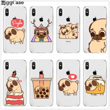 Para iPhone 5 7 7 Plus 5S SE 6 6 S Plus 8 8 Mais Bonito do Filhote de Cachorro Pug Suave silicone caso de telefone Coque Funda Para iPhone X XR XS Max(China)