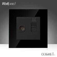 Wallpad TV y Toma De Datos Negro Crystal Glass Interruptor Interruptor de 86*86mm de la Televisión y el Ordenador de Datos RJ45 Socket Jack, envío Gratis