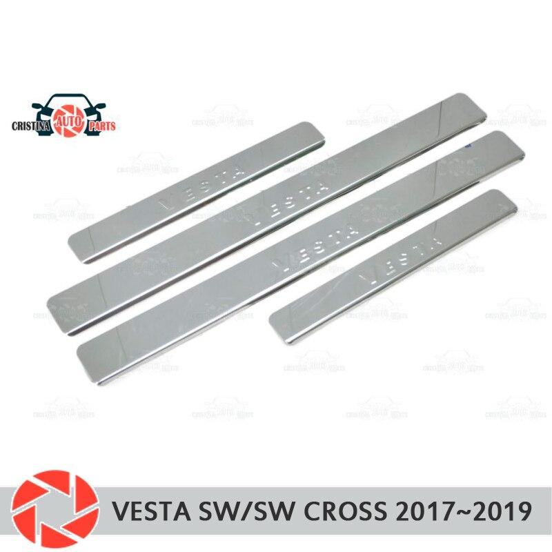ประตู sills สำหรับ Lada Vesta SW/SW Cross 2017 ~ 2019 ขั้นตอนแผ่นด้านใน trim อุปกรณ์เสริมรถยนต์จัดแต่งทรงผมตกแต่งแสตมป...