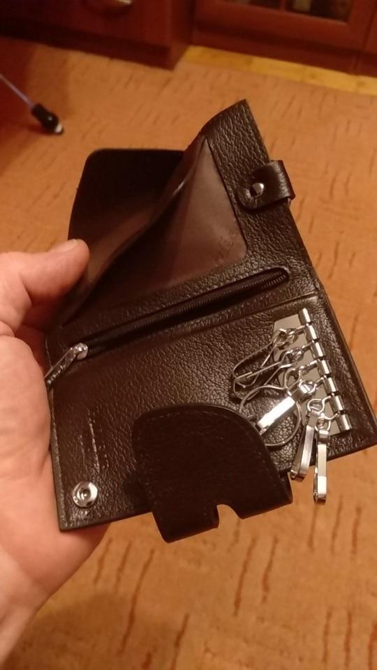Padieoe New Designer Key Holder Genuine Leather Fashion Housekeeper Multifunction Men Key Wallet photo review