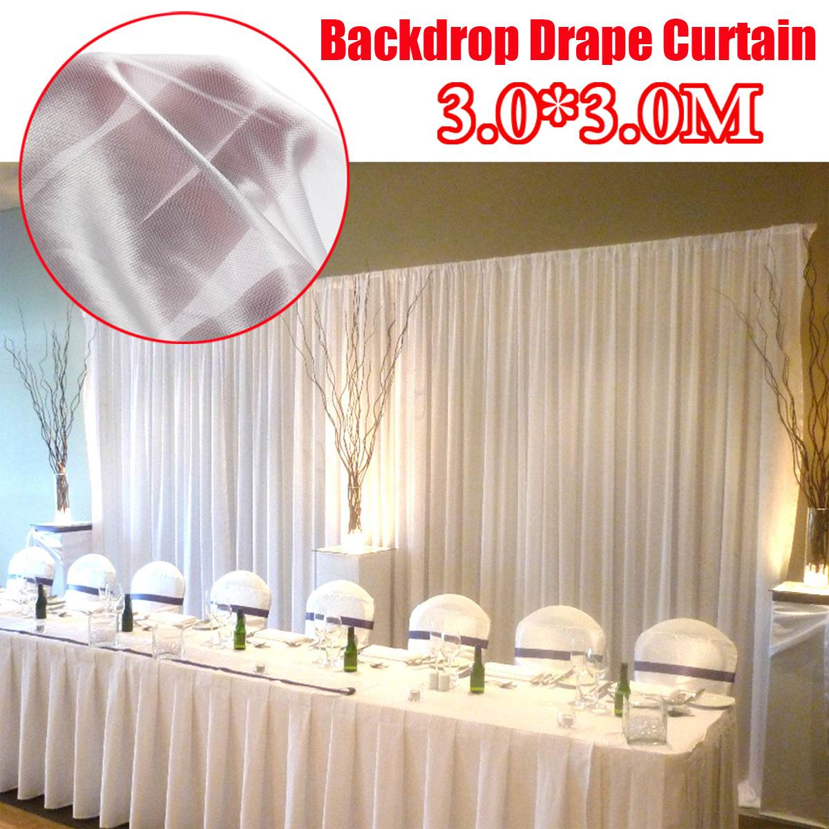 3x3m White Wedding Party Backdrop Curtain Drape Stage Background Decor Studio3x3m White Wedding Party Backdrop Curtain Drape Stage Background Decor Studio