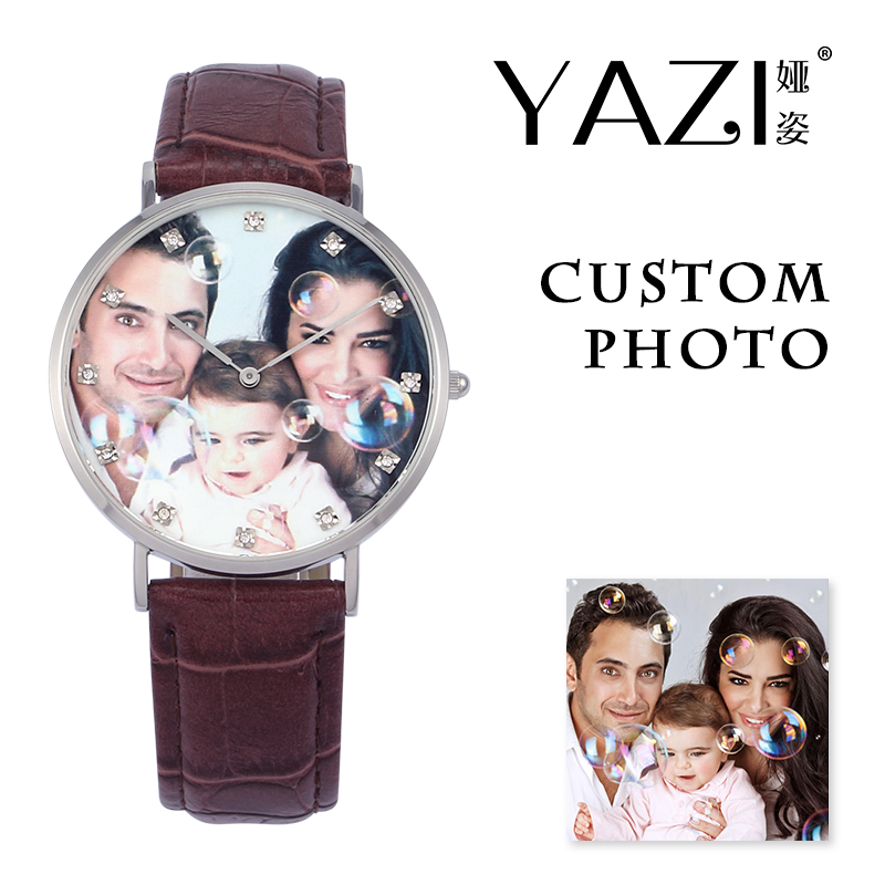 YAZI Unique Custom Made Quartz Watch Photo Print in Dial Fashion Creative Watch for Men Crocodile Stripe Leather Women Watches