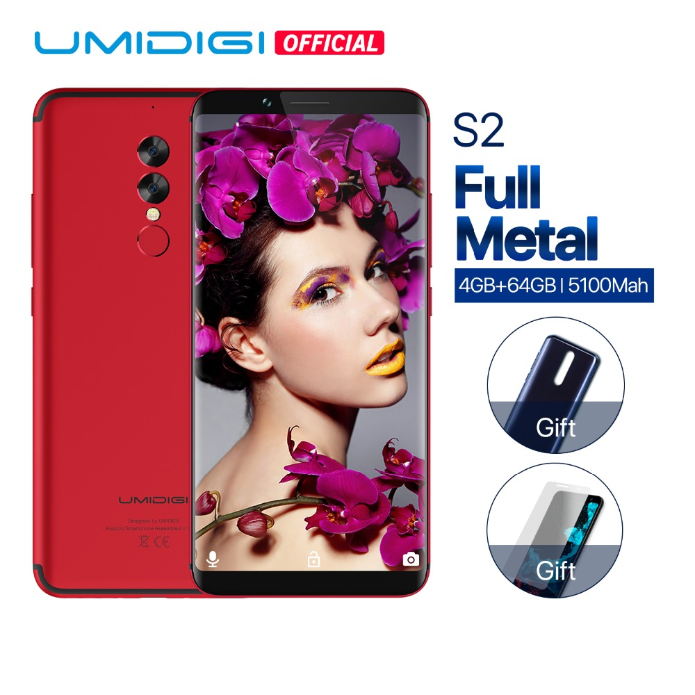 UMIDIGI S2 Full Screen Mobile Phone 5100mAh 4GB+64GB 13.0MP Camera Face ID Touchscreen Android 6.0 4G LTE Smartphone