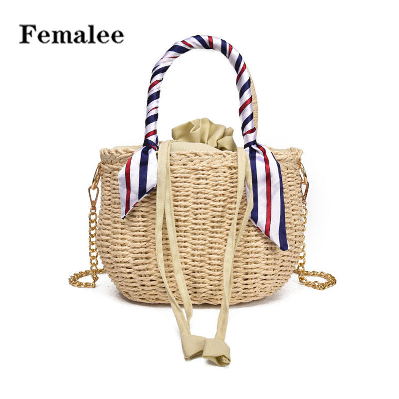 FEMALEE Retro Pastoral Crossbody Straw Bag Summer Travel Shoulder Bags Beach Casual Tote Bag Rattan Woven Holiday Women Handbag wegogo women handbag new thailand straw bag ladies travel holiday summer beach bohemian boho weaving woven straw tote bag