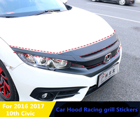 Car Hood and Racing grill Stickers 8pcs for Honda Civic 10th 2016 2017 car body Exterior decorative sticker