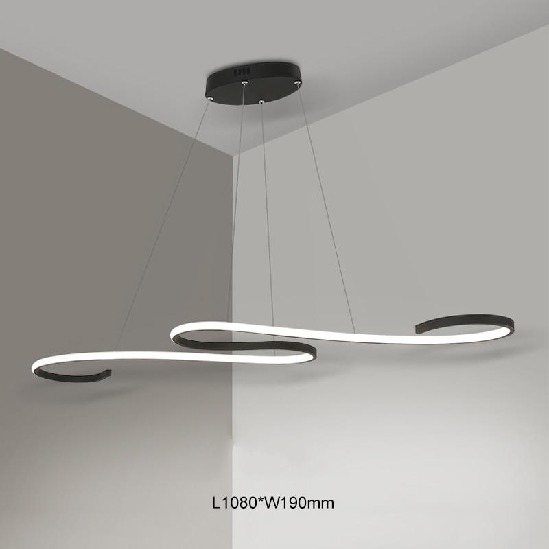 Современные светодиодные подвесные светильники черного/белого цвета для столовой, кухни, бара, акриловые подвесные светильники - 3