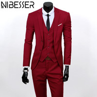 NIBESSER Men Suits Business Blazer Jackets Sapphire Dress Coats Pants Vests 2017 Grooms Wear Wedding Suits