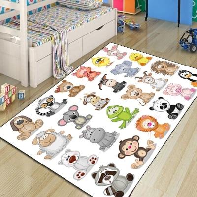 Autre Jungle colorée mignon animaux drôles impression 3d moderne antidérapant microfibre enfants chambre décorative tapis tapis