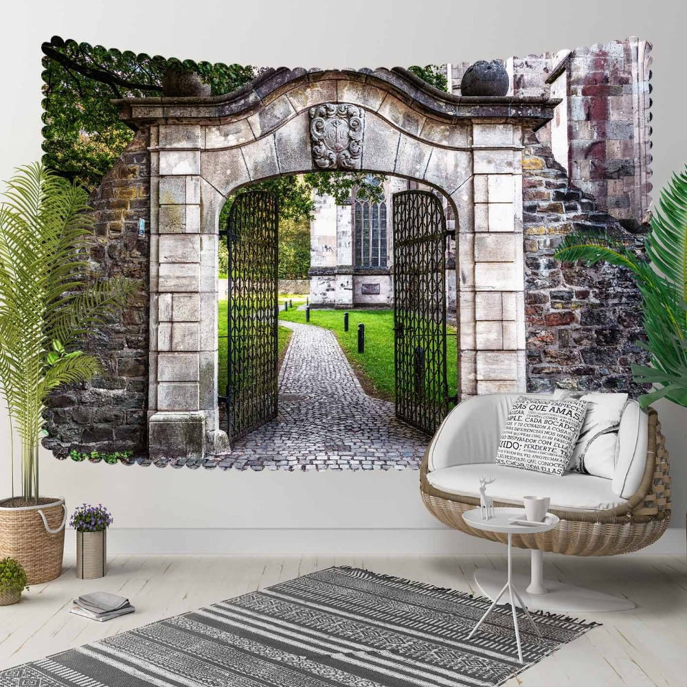 Else Green Floral Garden Stone Wall Doors Vintage 3D Print Decorative Hippi Bohemian Wall Hanging Landscape Tapestry Wall Art