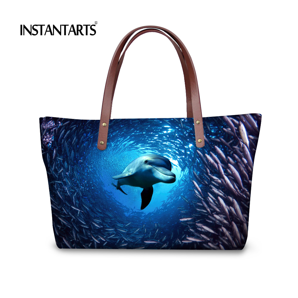 INSTANTARTS Blue Ocean Women Shoulder Bag Animal Dolphin Large Capacity Handbags for Ladies Shopping Brand Designer Tote Bags