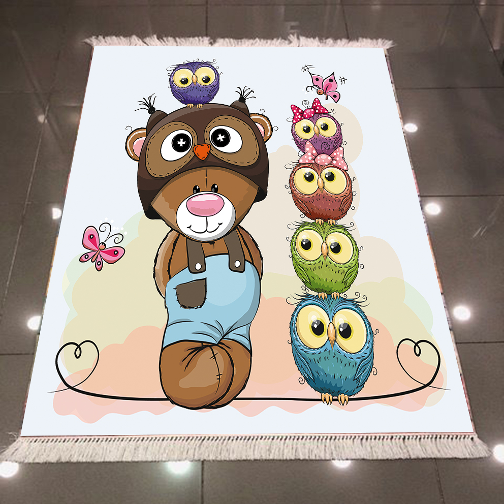 Else Brown Bear Cute Pink Green Purple Owls 3d Microfiber Anti Slip Back Washable Decorative Children Kilim Room Area Rug Carpet