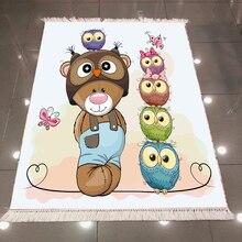 Else Brown Bear Cute Pink Green Purple Owls 3d Microfiber Anti Slip Back Washable Decorative Children Kilim Room Area Rug Carpet