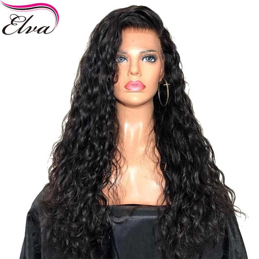 Волосы ELVA волна воды 360 синтетический фронтальный парик предварительно сорвал с детскими волосами отбеливать узлы бразильские волосы remy парики шнурка для черных женщин