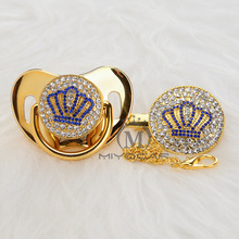 MIYOCAR Gold beautiful GOLD bling blue crown pacifier and clip set BPA free dummy unique design ABCB-8
