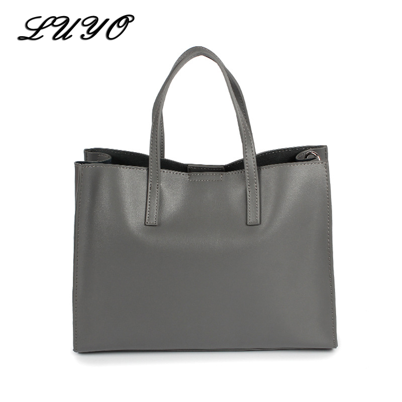 LUYO Genuine Leather Casual Tote Big Bag Handbag Basket Shoulder Top-handle Bags Female Women Designer Handbags Bolsa Feminina 2018 fashion bag female top handle tote pu leather european and american style women handbags shoulder bags bolsa feminina
