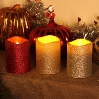 GiveU Led Pillar Candles with Timer Decorative Led Battery Candles,Christmas Decoration for home,Red