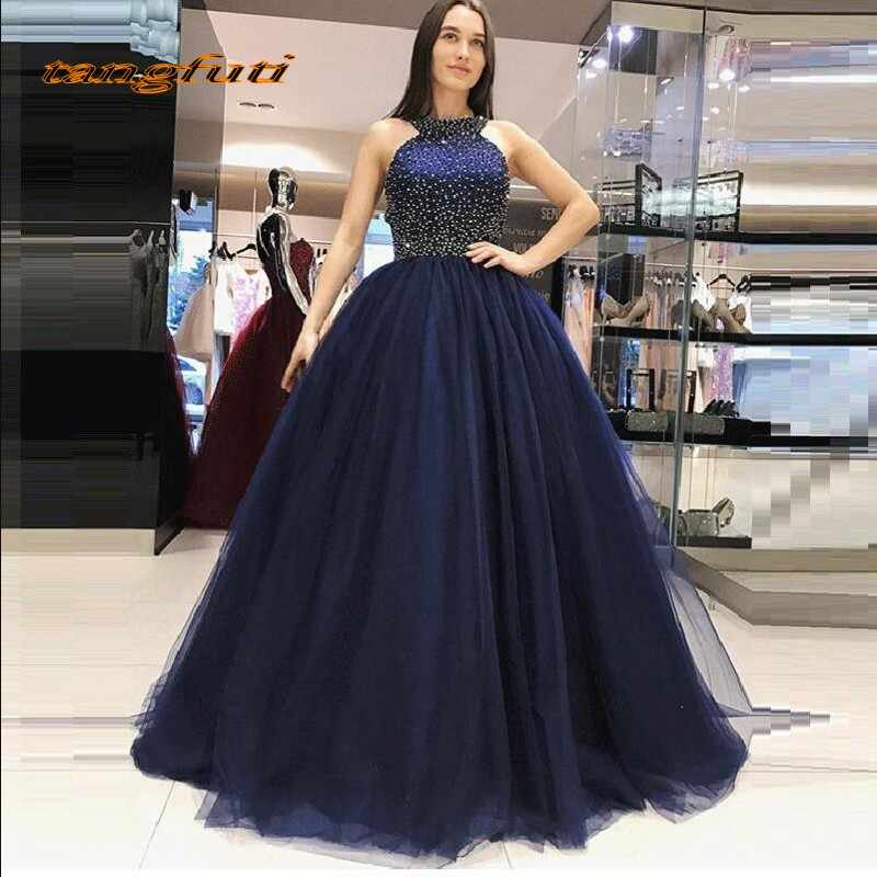3ec8dce956a Navy Blue Ball Gown Princess Quinceanera Dresses Girls Beaded Masquerade  Sweet 16 Dresses Prom Party Gown