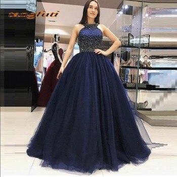 37cdf83aef Azul Marino bola princesa Quinceanera vestidos Beaded Masquerade dulce 16  vestidos fiesta de baile vestidos de 15 anos