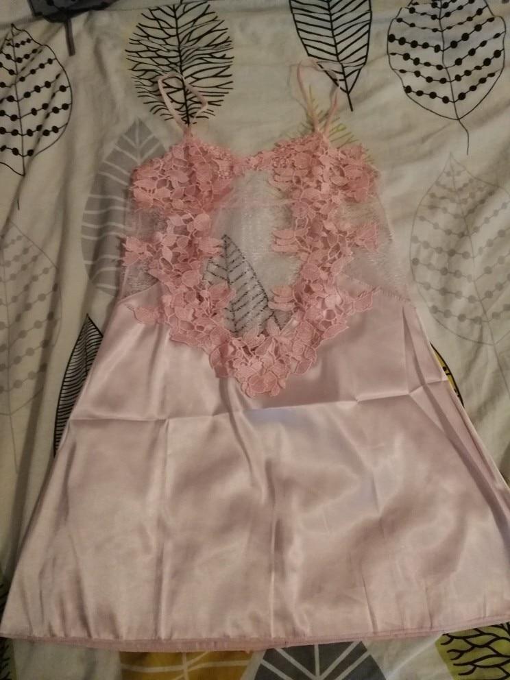 COLROVIE Without Panties Crochet Lace Applique Slips Night Dress Summer Spaghetti Strap Women Sleepwear New Sexy Nightgown