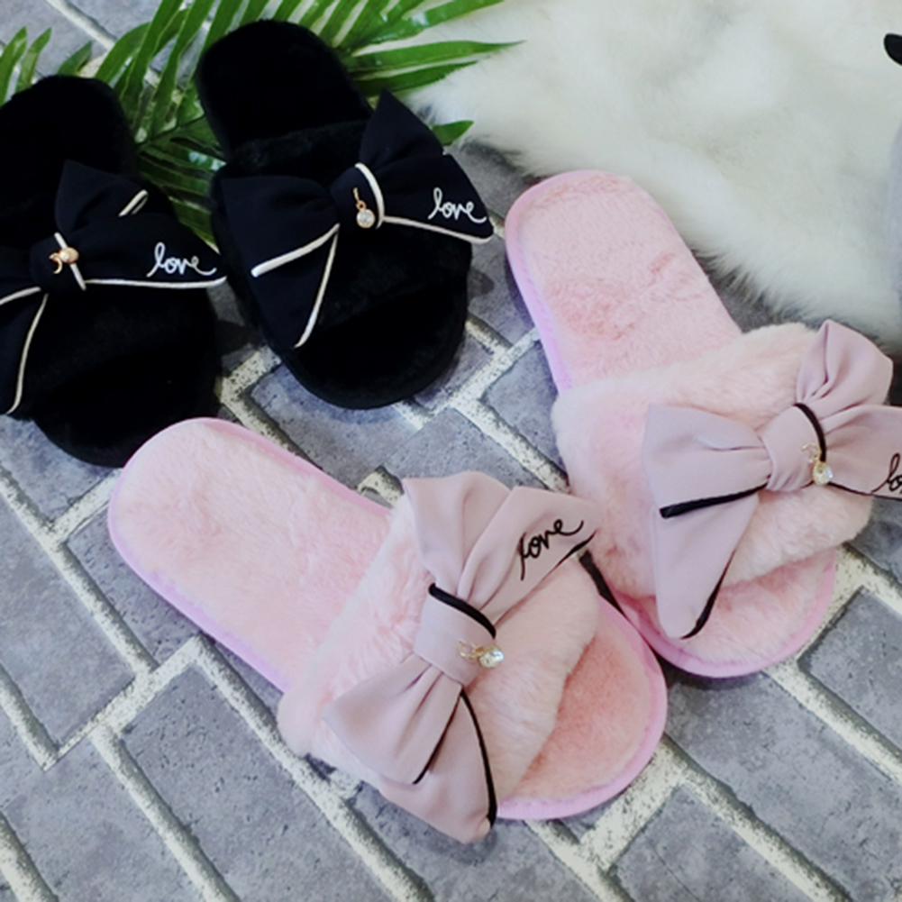 Fashion Women Bowknot Faux Fur Open Toe Indoor Winter Slippers Slip On Shoes flat fur women slippers 2017 fashion leisure open toe women indoor slippers fur high quality soft plush lady furry slippers