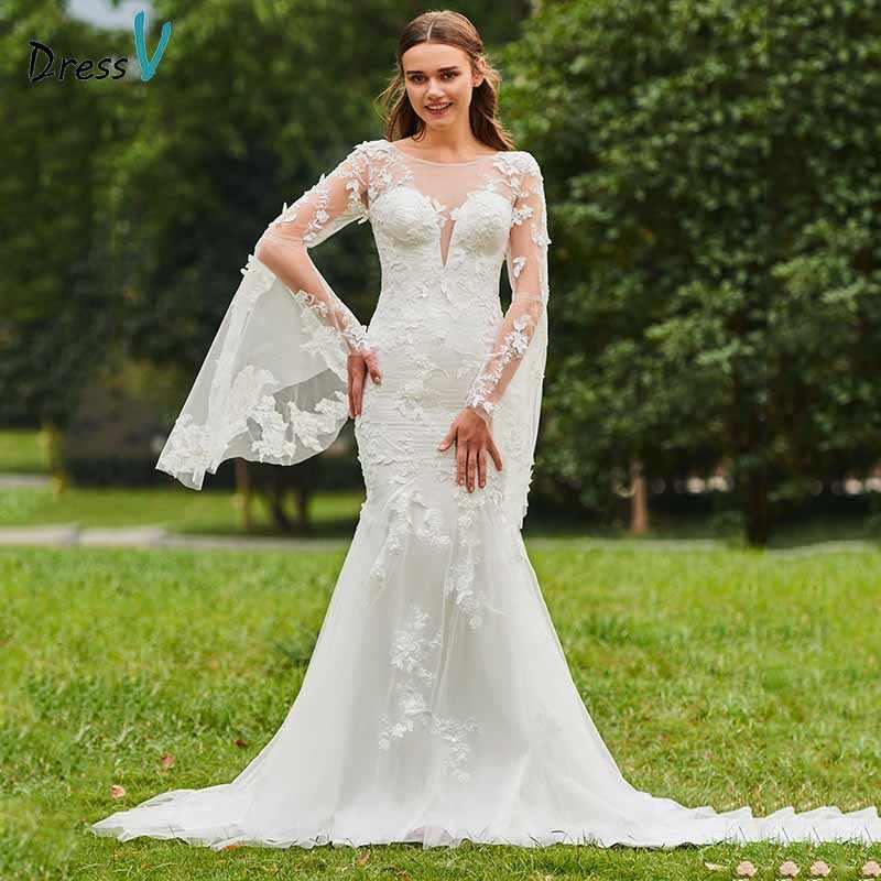 Dressv marfim sereia vestido de casamento colher pescoço mangas compridas botão do laço até o chão nupcial ao ar livre & igreja vestidos de casamento