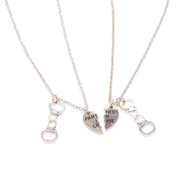 3a0259d97ea34 2PCs/set Partner In Crime Best Friends Half Heart Handcuf Necklaces Vintage  Silver Choker Necklace Alloy Charm New Fashion-in Pendant Necklaces from ...