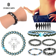 1Pc Weight Loss Bracelet Round Magnetic Stone Therapy Slimming Hand Chain Hematite Stretch Magnet  Jewelry Health Care