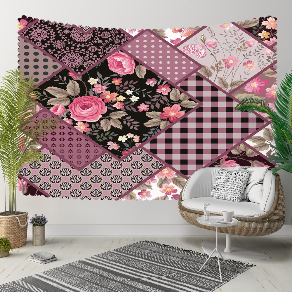 Else Purple Pink Flowers Geometric Patchwork Floral 3D Print Decorative Hippi Bohemian Wall Hanging Landscape Tapestry Wall Art
