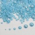 Аквамарин 2 мм-6 мм, Микс размеров 1000 шт./Лот, керамические бусины, полукруглые, с плоской задней поверхностью, жемчужины на клей, зеркальные, г...