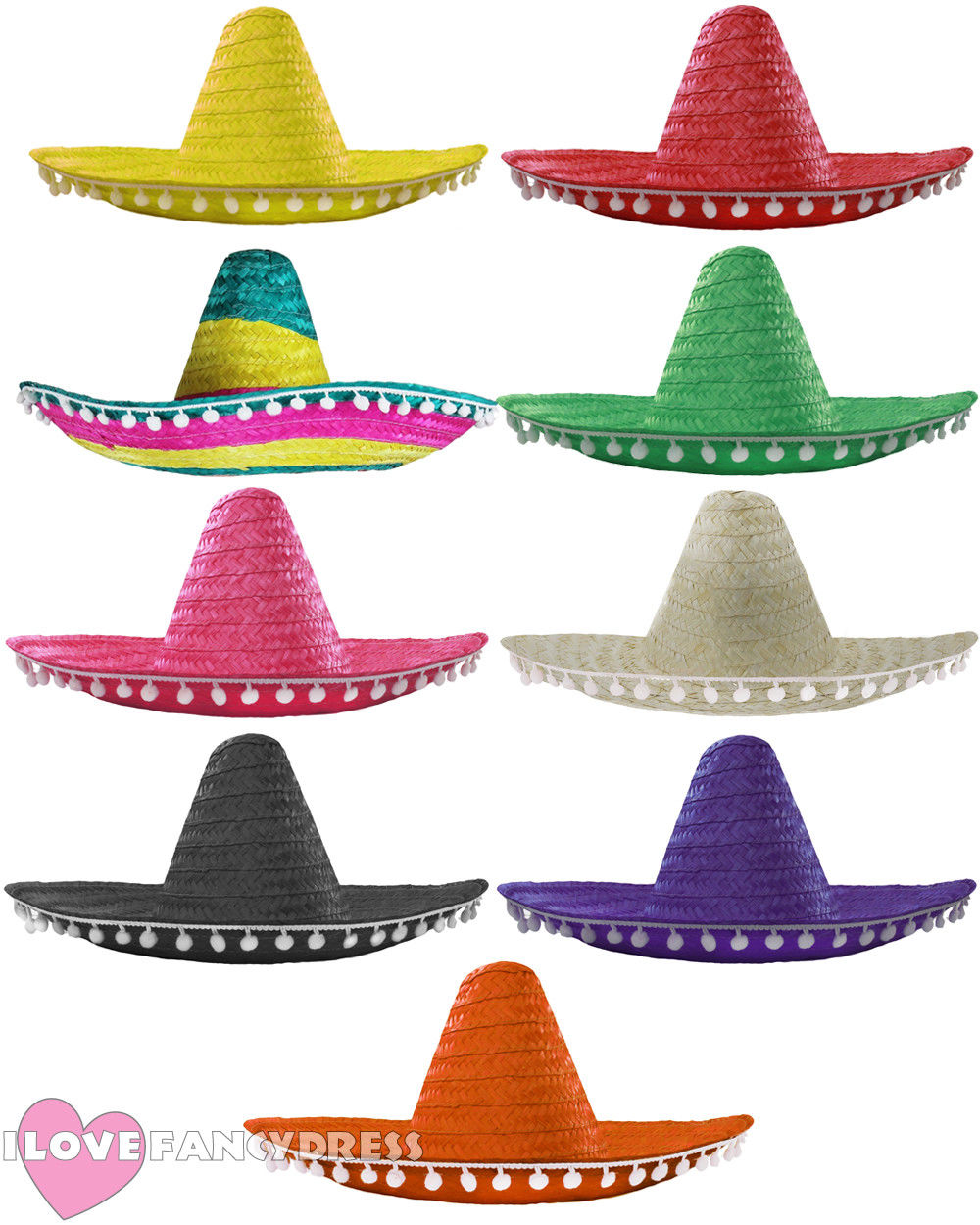 I LOVE FANCY DRESS MEXICAN SOMBRERO STRAW HAT ADD MOUSTACHE CIGAR BANDIT FANCY DRESS HALLOWEEN COSTUME COCO DAY OF THE DEAD