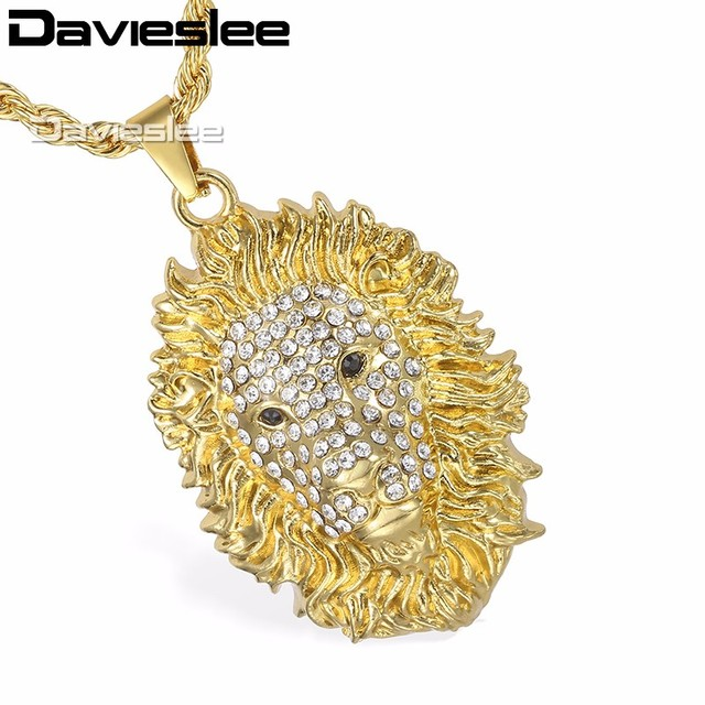 152e3283413 Davieslee Mens Miami Chain Lion Head Pendant Necklace Gold Color Hiphop  Jewelry Black Eyes Iced Out Paved Rhinestones LGP110 1