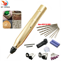 QSTEXPRESS Mini Portable Golden Electric Mill Electric Drill Charge Electric Engraving Pen Drilling Polishing Machine