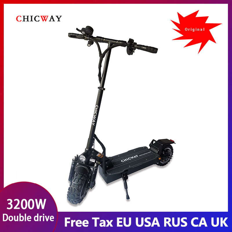 CHICWAY off-road electric scooter 3200W,60V26AH,max speed 65km/+,double oil brake,smart LED,electronic lock,horn,Freeshipping