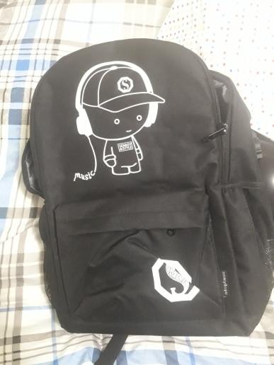 Anime Luminous Student School Bag School Backpack For Boy girl Daypack Multifunction USB Charging Port and Lock School Bag Black photo review