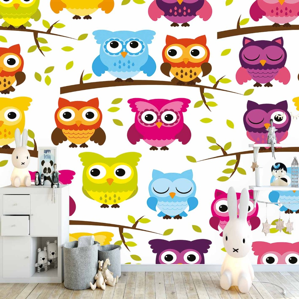 Else Yellow Blue Brown Pink Cute Owls On Branch 3d Print Cartoon Cleanable Fabric Mural Kids Children Room Background Wallpaper