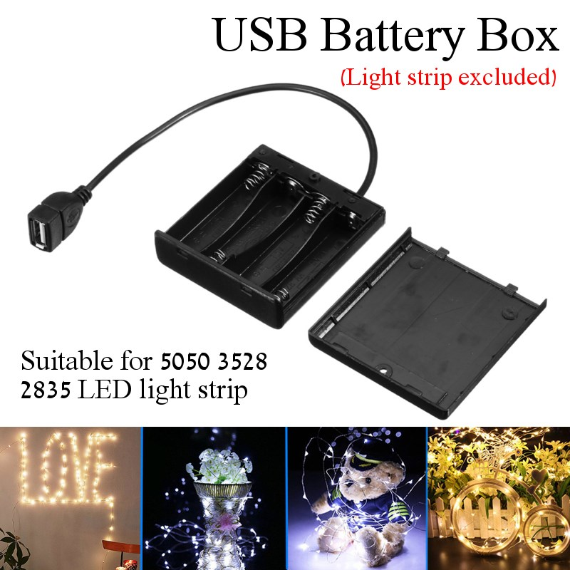 DC5V Portable Mini AA Battery Holder Storage Box Case USB Power Supply Battery Box For 5050 3528 2835 LED Strip Light dc5v portable mini aa battery holder storage box case usb power supply battery box for 5050 3528 2835 led strip light