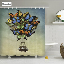 Shower Curtain With Butterflies Bathroom Accessories Hot Air Balloon Fly  Height Art Blue Green Beige 180