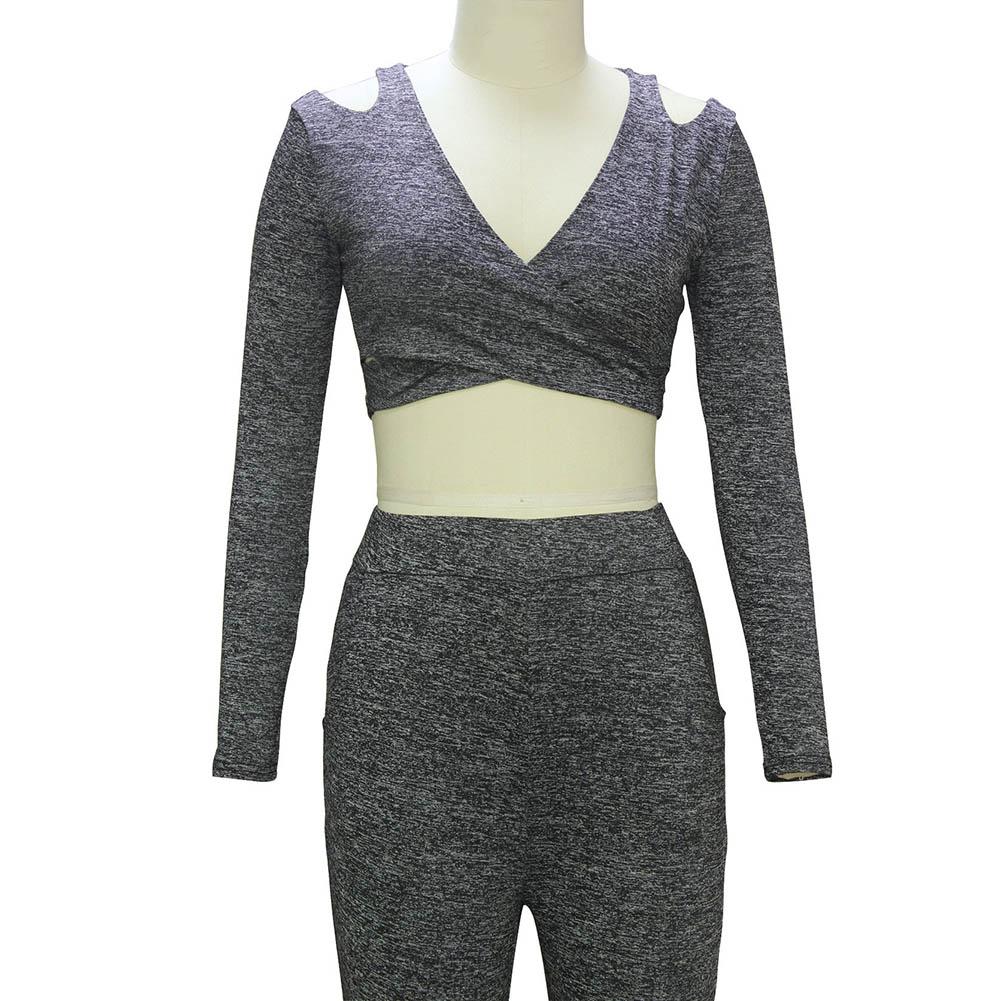 1 Set Crop Top And Skirt Set 2017 Spring Summer Strapless Deep V Long Sleeve Vest Trousers  Set W4512
