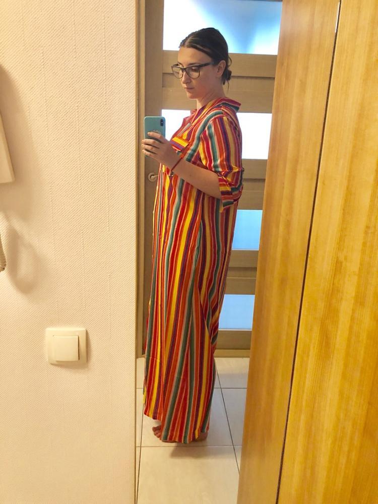 Short Sleeve Boho Striped Casual Long Dress Summer  Vintage Women Dress Elegant Streetwear Loose Sexy Black Shirt Dresses photo review