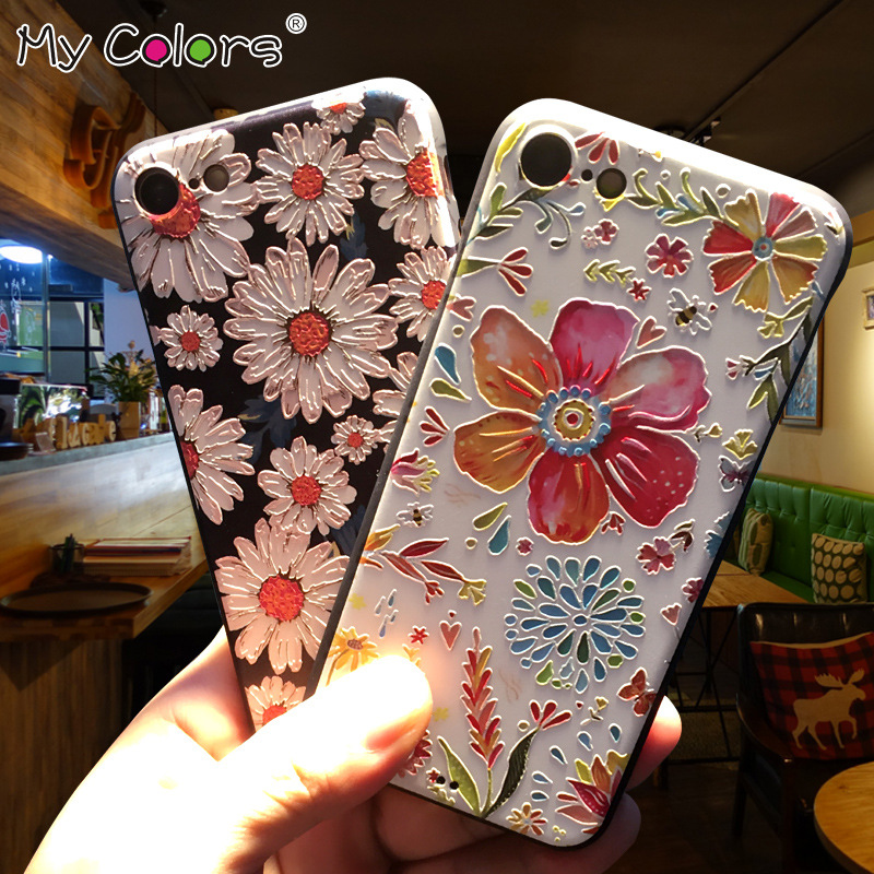 My Colors Embossed 3D Mobile Phone Case For coque iphone 7 Case silicone iPhone 7 Plus case luxury soft Cover Case accessories