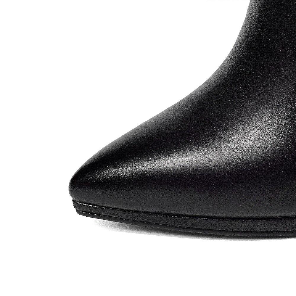 6d4d8eba4022d Cheville Single Hiver Bottes black Beige Haute Warm black Talon 10 Mode  Femmes Warm forme Bottines ...