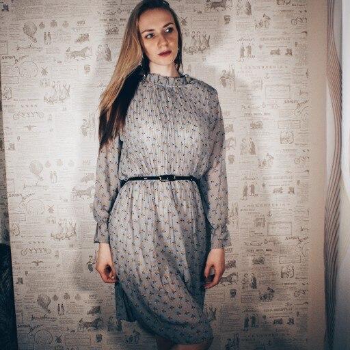 Spring Print Dresses Summer Loose Chiffon Women Dress Casual High Waist Ruffles Flare Sleeve Dresses Female photo review
