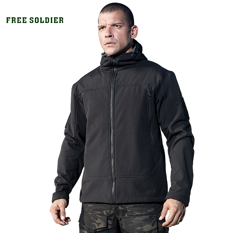 FREE SOLDIER Outdoor sports tactical men's jacket military fleece warmth softshell cloth for camping hiking fleece lined jacket with epaulet