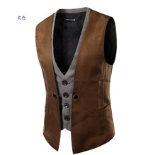PADEGAO mens Wedding Sleeveless suit vests waistcoat false double layer Smart Casual dress England style blazer