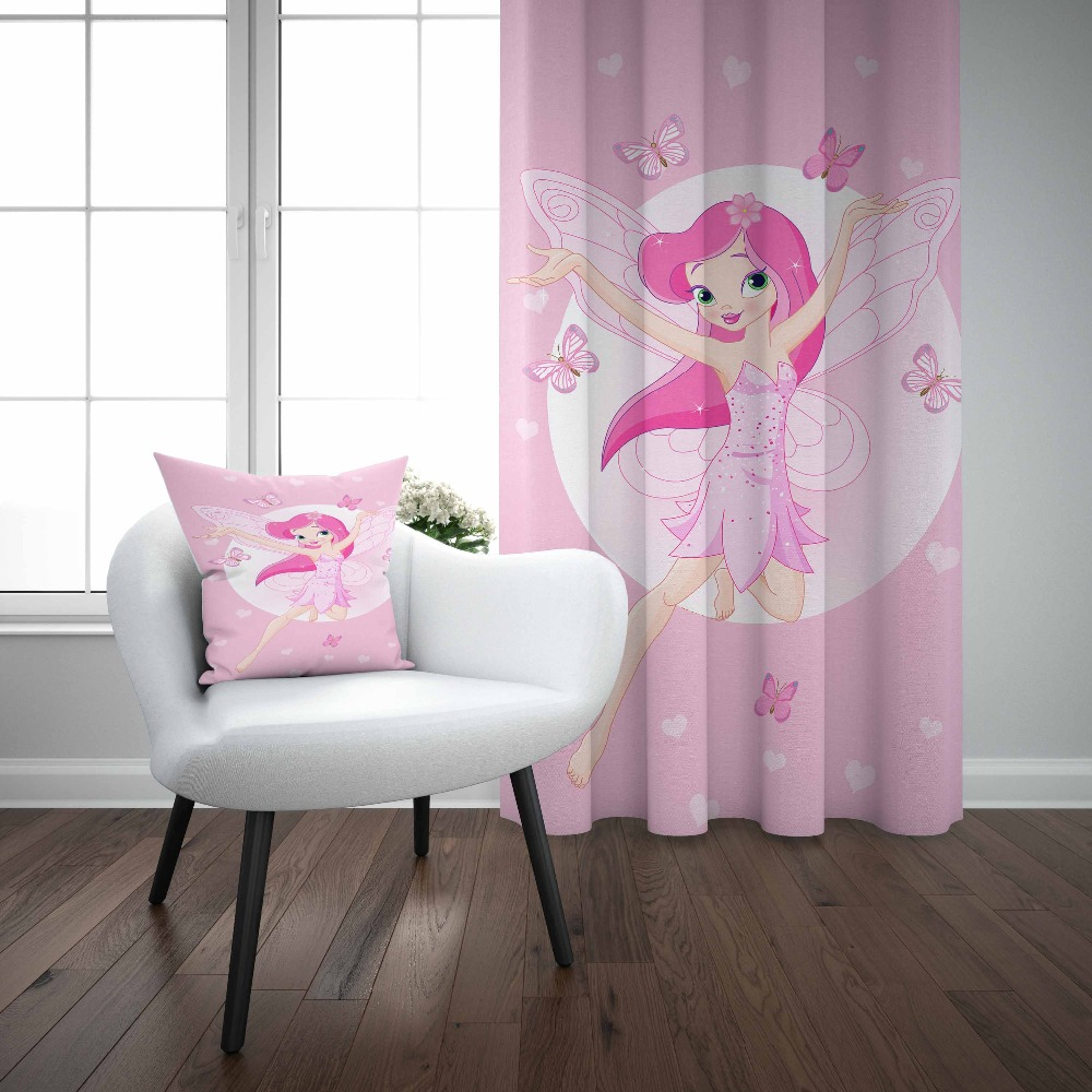 Autre rose étage fée fille papillon blanc coeurs 3d enfants imprimer bébé enfants fenêtre panneau ensemble rideau combiner cadeau taie d'oreiller