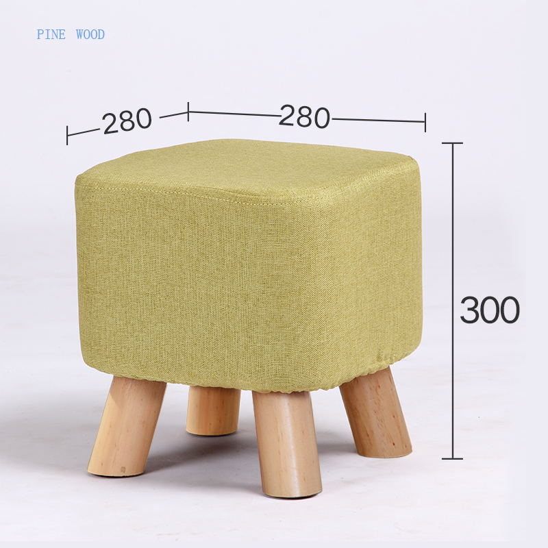 7 Colors Modern Sofa Footstool Living Room Small Square Stool Pine Wood Leg With Detachable Linen Fabric Cover fashion modern creative home footstool small chair soft natural lining shoes stool solid wood support living room bedroom stool