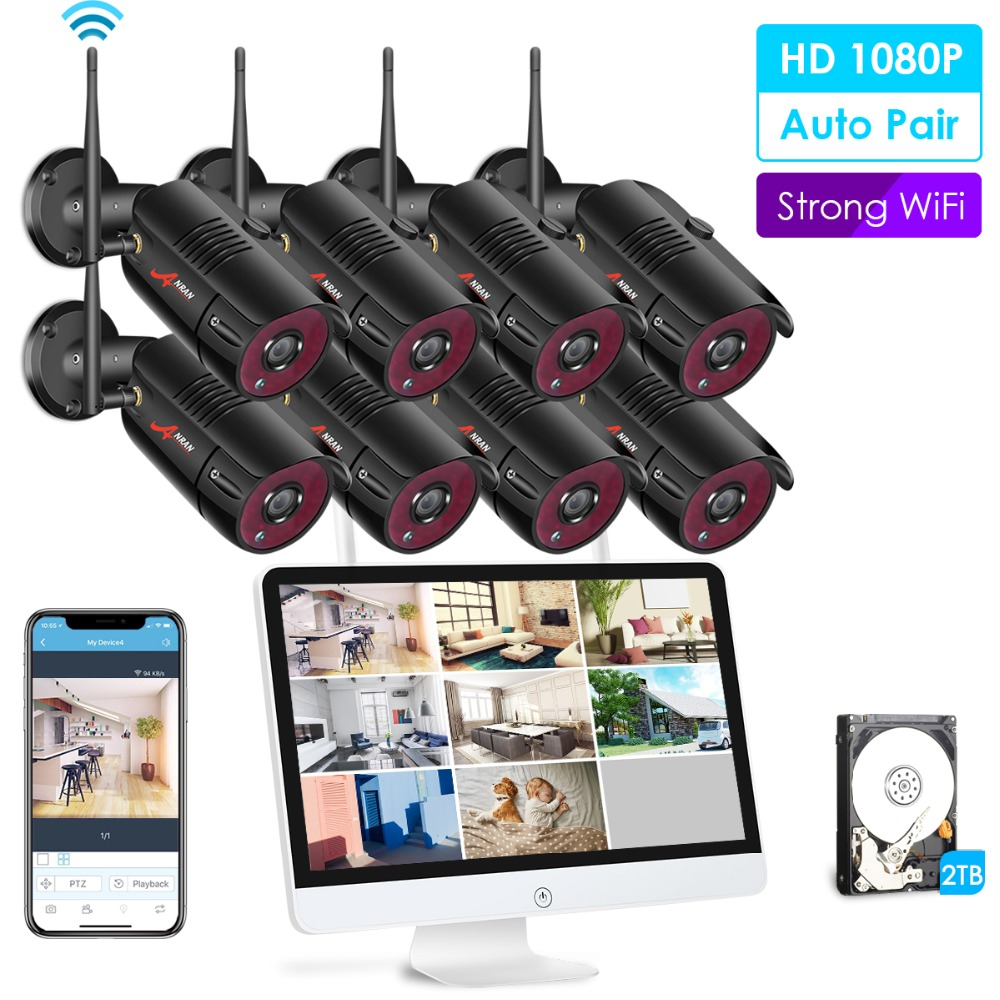 ANRAN 1080P 8CH Home Security Camera System Waterproof Outdoor Night Vision WiFi IP Camera with 15 Inch Monitor 2TB HDD NVR Kits
