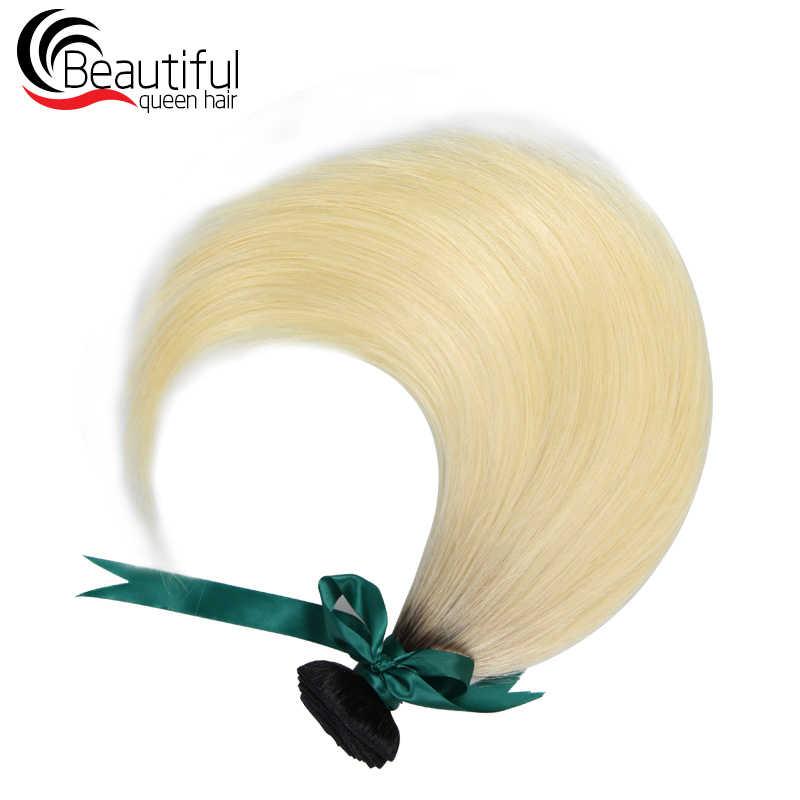 Güzel Kraliçe 10A 1B/613 Sarışın düz insan saçı 1/3/4 ADET Paket Saç Siyah Kökleri Bakire saç Çift Atkı 10-26 Inç